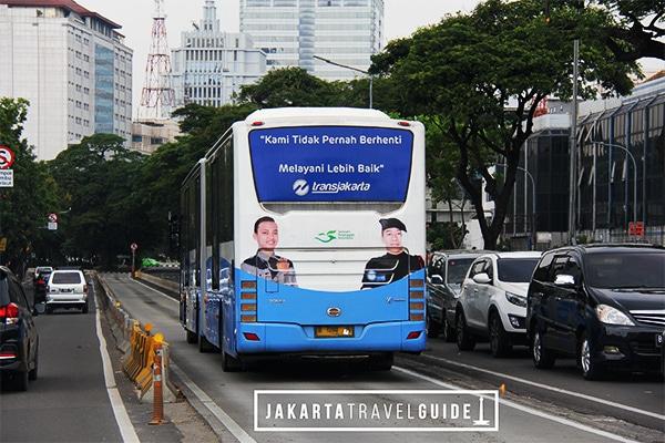 TransJakarta Bus in Bus Lane