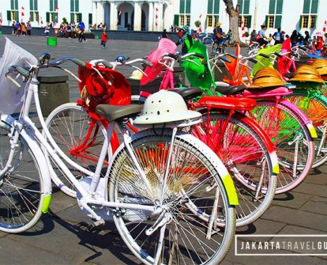 The colorful bicycles adds to the festive ambiance of Kota Tua